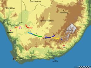 Mapa celé trasy expedice dle kapitol